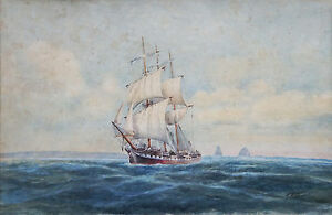 FRED ELLIOTT (1864-1949) LARGE Original watercolour Tall Ship Sydney Heads 1900