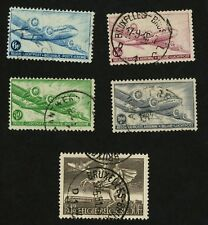 1946 Belgium Air Post Stamps Scott #C8-C12 (5 Stamps)  All Used