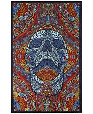 3-D MINDFUL SKULL PSYCHEDELIC 5x7.5ft  TAPESTRY WALL HANGING w/FREE GLASSES