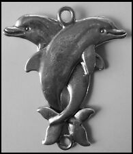 PEWTER CHARM #350 DOLPHINS 63mm x 50mm 2 bail double sided joiner for suncatcher