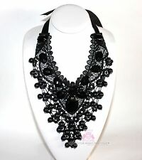 Beauty for Ashes Glam Bib Black Lace Antique Dressy Prom Victorian Tie Necklace