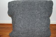 RESTORATION HARDWARE ITALIAN WOOL ALPACA CABLE SWEATER KNIT PILLOW SHAM GRAY 22""