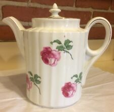 Large White Tea Coffee Pot With Pink Cabbage Roses - Made in Germany