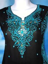 Black Blue Mirror Salwar Kameez 34 Punjabi Indian Pant Suit 2 pc
