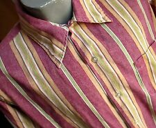 LARGE True Vtg 60s Mens PURPLE/GREEN GOLD STRIPE COLLARED MOD BAND SHIRT