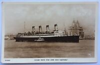 Cunard White Star RMS Aquitania Leaving Liverpool Maiden Voyage? RP Postcard