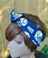 Indianapolis Colts Wired Dolly Bow -  Rockabilly Scarf Headband Headwrap Bandana