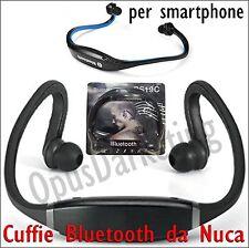 CUFFIE BLUETOOTH CON ARCHETTO DA NUCA COLLO SPORT UNIVERSALI PER SMARTPHONE