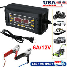 6A 12V Auto Fast Lead-Acid GEL Battery Charger Maintainer For Car Motorcycle LCD
