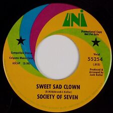 SOCIETY OF SEVEN: Sweet Sad Clown USA UNI DJ Promo 45 '70 Rock Pop 45