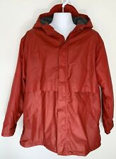LANDS END Mens PVC Rain Jacket Coat Fleece Lined Hooded Waterproof Red Large L
