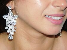 Clear Rhinestone Flower, White Pearl Bridal W. Teardrop Crystal Earrings
