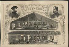Libey Prison Richmond Virginia Union Officers 1863 antique wood engraved print