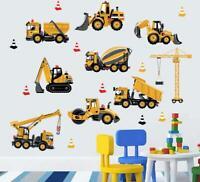 Wall Sticker Truck Excavator Vehicles Kid Baby Children's Room Decal Nursery Boy