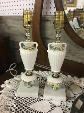 "Vintage Pair 13"" Boudoir Lamps Yellow & Blue Flowers Underwriters Laboratories"