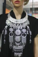 3Rings Exotic Tribal chinese handmade miao silver long tassels necklace 1piece