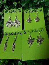 4 Pack Tibetan Silver Tree Of Life Ladybird & Fairy Bulk Party Earring Sets