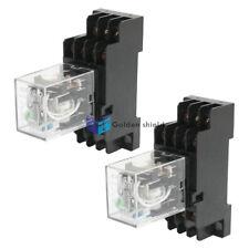 2Pcs HH54P 24VDC 4PDT Green LED DIN Mount Power Relay w PYF14A Socket