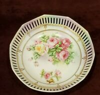 Vintage Reticulated Bowl Pink Yellow Roses Gold Accents Maker's Mark