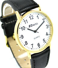 Ravel Mens Bold BIG Number Watch with BIG Clear White Face and LONG Black Strap