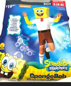 SpongeBob Square Pants Halloween Costume Boys Size Small (4-6) Brand New!