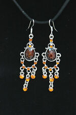 AMBER Orange Colour Acrylic CRYSTAL Rhinestone Silver Tone Drop Dangle EARRINGS