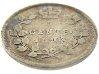 1893 Canada Five Cents Small Silver Canadian Circulated Victoria Coin M863