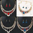 Fashion Rhinestone Wedding Women Gold Crystal Jewelry Set Necklace Earrings Sell