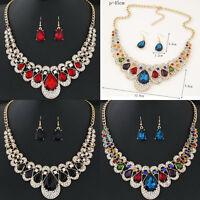 Fashion Rhinestone Wedding Women Gold Crystal Jewelry Set Necklace Earrings New#