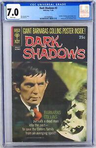 Gold Key Dark Shadows #3 CGC 7.0 Jonathan Frid Barnabas Photo Cover Certa 1969