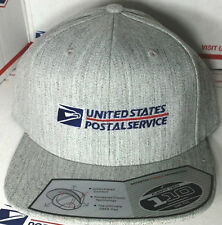 USPS POSTAL FLEXFIT HEATHER WOOL BLEND FLAT BILL SNAPBACK HAT WITH POSTAL LOGO