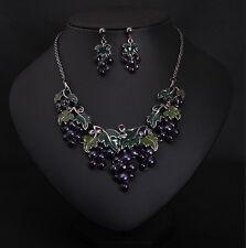 Fashion Charm Jewelery Temptation Grapes Enamel Leaf Fruit Necklace Earring Set