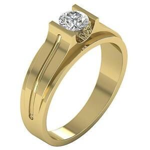 SI1 G Men's Engagement Round Cut Solitaire Real Diamond Ring 0.50 Ct Yellow Gold