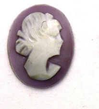 Antique Miniature Oval Purple Shell Cameo Stone Facing Right 10 mm x 8 mm #N605