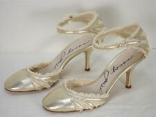 NEW NANCY GEIST GOLD LEATHER ANKLE STRAP PUMPS SHOES WOMEN'S 36 $407