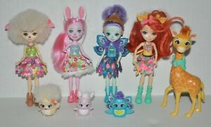 Enchantimals Doll & Animal Lot (Giraffe, Peacock, Bunny, Lamb) *EXCELLENT*