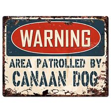 Pp2409 Warning Area Patrolled By Canaan Dog Plate Chic Sign Home Store Decor
