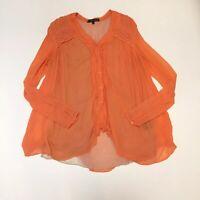 Rohit Gandhi Rahul Khanna Orange Crinkle Blouse Anthropologie Womens Small Boho