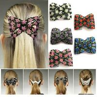 FD683 Magic Stretch Rose Flower Bow Glass Bead Hair Head Comb Cuff Double Clips