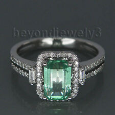 Fashion Natural Colombia Emerald Diamonds Engagement Ring Solid 14K White Gold