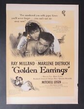 Original Print Ad 1947 Movie Ad Golden Earrings Marlene Dietrich Ray Milland