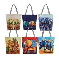 FT- Elephant Canvas Shopping Casual Womens Single Shoulder Tote Bag Handbag Eyef