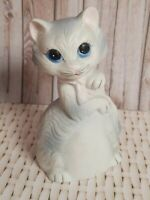 "Vintage JSNY Cat Bell Porcelain Figurine 4"" Decor Gray White Pink Blue Eye Kitty"