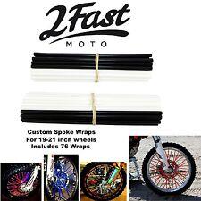 2FastMoto Spoke Wrap Kit Black White Covers Skins Wraps Custom Spoked Rim Beta
