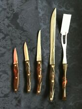 Set of 5 Cutco Knives Just Sharpened Vintage Brown Colored Handles