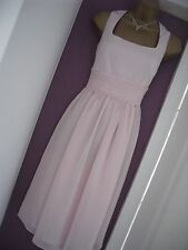 M&S PINK CHIFFON COCKTAIL / PROM / BRIDESMAID DRESS SMALL * BNWT RRP £89