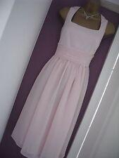 M&S PINK CHIFFON COCKTAIL / PROM / BRIDESMAID DRESS SMALL * BNWT RRP £89