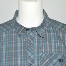 ARCTERYX Stretch Cotton Blend Gray Blue Plaid Long Sleeve Casual Shirt Sz XL