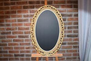 Vintage Cream Gold Oval White Shabby Chic Ornate Frame Chalk Blackboard Wedding