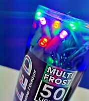 Kurt Adler 50 Light MULTI Color Frost LED Light Set CHRISTMAS LIGHTS UL4114M NEW